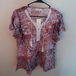 Vintage America Tops - Vintage America Bright Rose Lace top Linen SMALL